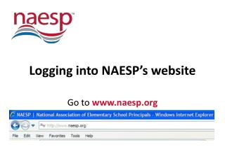 Logging into NAESP's website