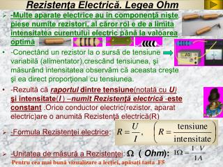 Rezisten ?a Electric?. Legea Ohm