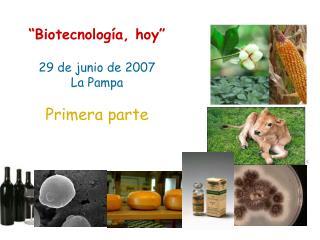 Biotecnolog a, hoy   29 de junio de 2007 La Pampa  Primera parte