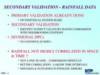 SECONDARY VALIDATION - RAINFALL DATA