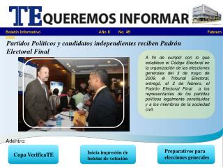 Partidos Políticos y candidatos independientes reciben Padrón Electoral Final