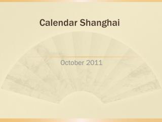 Calendar Shanghai