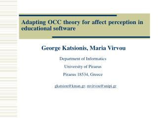 Adapting OCC theory for affect perception in educational software