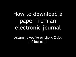 How to download a paper from an electronic journal