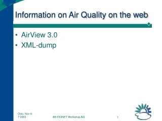 Information on Air Quality on the web