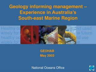 Geology informing management – Experience in Australia's  South-east Marine Region