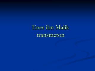 Enes ibn Malik  transmeton