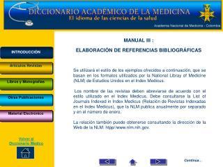 MANUAL III :  ELABORACIÓN DE REFERENCIAS BIBLIOGRÁFICAS