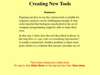 Creating New Tools