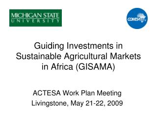 Guiding Investments in Sustainable Agricultural Markets in Africa (GISAMA)