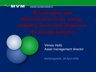 Privatisation and liberalisation in the energy industry, losses and chances in the mining industry