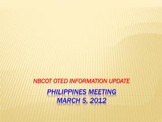 Philippines meeting March 5, 2012