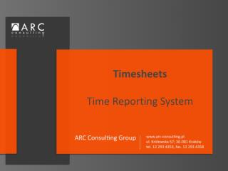 Timesheets Time  R eporting System