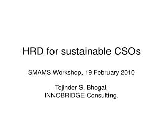 HRD for sustainable CSOs