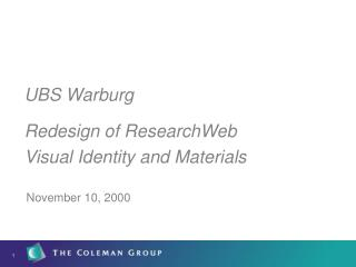 UBS Warburg Redesign of ResearchWeb Visual Identity and Materials