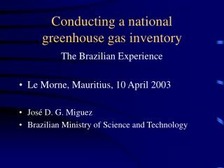 Conducting a national greenhouse gas inventory