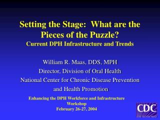Setting the Stage:  What are the Pieces of the Puzzle? Current DPH Infrastructure and Trends