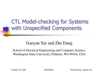 CTL Model-checking for Systems with Unspecified Components