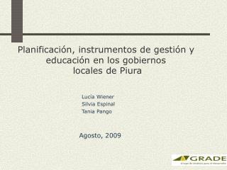 Planificaci n, instrumentos de gesti n y educaci n en los gobiernos  locales de Piura