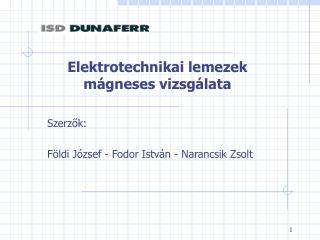 Elektrotechnikai lemezek mágneses vizsgálata