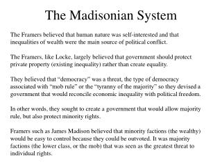The Madisonian System