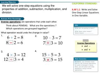 We will  solve  one-step  equations using the