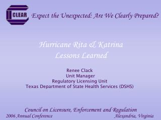 Hurricane Rita & Katrina  Lessons Learned