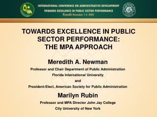 TOWARDS EXCELLENCE IN PUBLIC SECTOR PERFORMANCE: THE MPA APPROACH