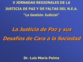 V JORNADAS REGIONALES DE LA  JUSTICIA DE PAZ Y DE FALTAS DEL N.E.A. � La Gesti�n Judicial �