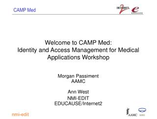 Welcome to CAMP Med: Identity and Access Management for Medical Applications Workshop