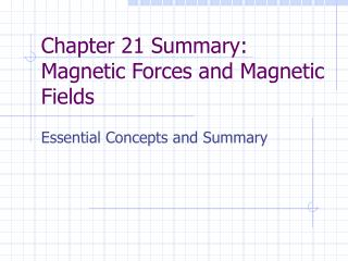 Chapter 21 Summary: Magnetic Forces and Magnetic Fields