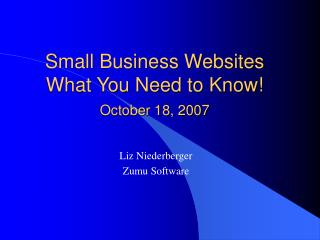 Small Business Websites What You Need to Know! October 18, 2007