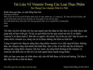Tài Liệu Về Vitamin Trong Các Loại Thực Phẩm Tác Dụng Của vitamin Trên Cơ Thể
