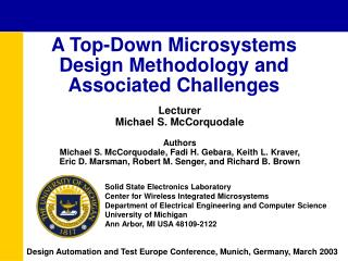 A Top-Down Microsystems Design Methodology and Associated Challenges