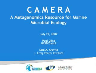 C A M E R A A Metagenomics Resource for Marine Microbial Ecology