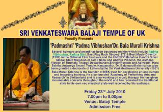 SRI VENKATESWARA BALAJI TEMPLE OF UK