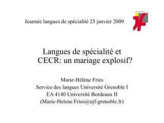 Journée langues de spécialité 23 janvier 2009