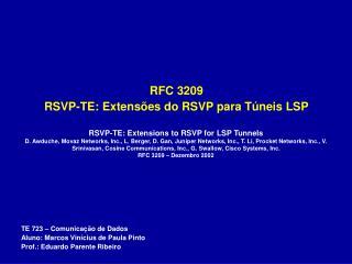RFC 3209  RSVP-TE: Extens�es do RSVP para T�neis LSP