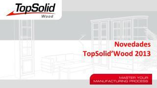 Novedades TopSolid'Wood  2013
