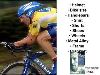 Helmet  Bike size  Handlebars  Shirt  Shorts  Shoes  Wheels  Metal Alloy  Frame  Crankset