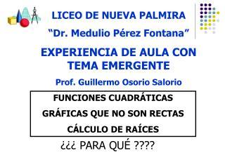 LICEO DE NUEVA PALMIRA   Dr. Medulio P rez Fontana  EXPERIENCIA DE AULA CON TEMA EMERGENTE Prof. Guillermo Osorio Salori