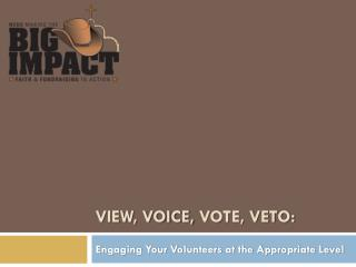View, Voice,  Vote, Veto: