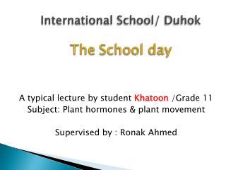 International School/  Duhok The School day