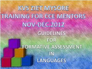 GUIDELINES  FOR  FORMATIVE ASSESSMENT  IN  LANGUAGES