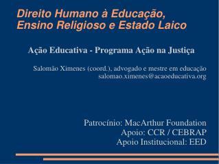 Direito Humano à Educação, Ensino Religioso e Estado Laico