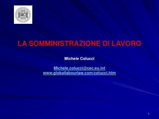 LA SOMMINISTRAZIONE DI LAVORO Michele Colucci Michele.colucci@cec.eut