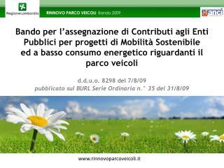Bando per l assegnazione di Contributi agli Enti Pubblici per progetti di Mobilit  Sostenibile   ed a basso consumo ener