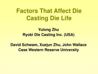 Factors That Affect Die Casting Die Life
