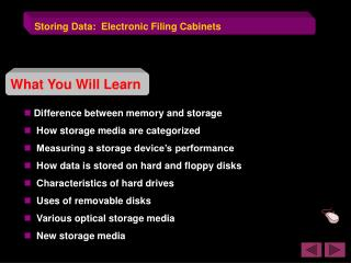 Storing Data:  Electronic Filing Cabinets