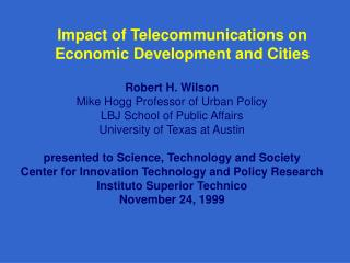 Impact of Telecommunications on Economic Development and Cities